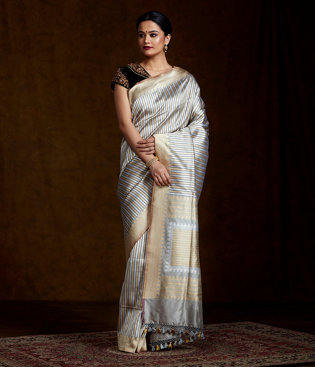 Grey and Silver Banarasi Kimkhab Saree with Black Detailing