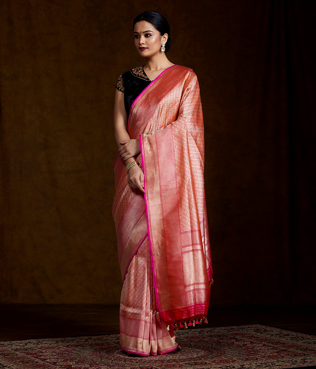 Handwoven Banarasi Kimkhab in Peach and Pink Dual Tone