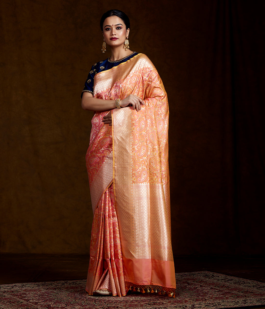 Peach and Orange Meenakari Banarasi Saree
