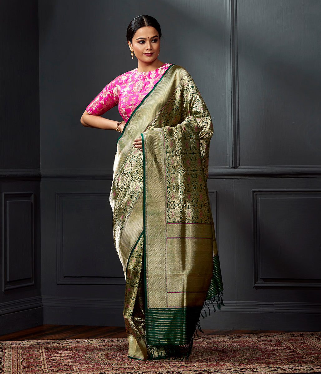 Handwoven Banarasi Brocade Jangla in Emerald Green
