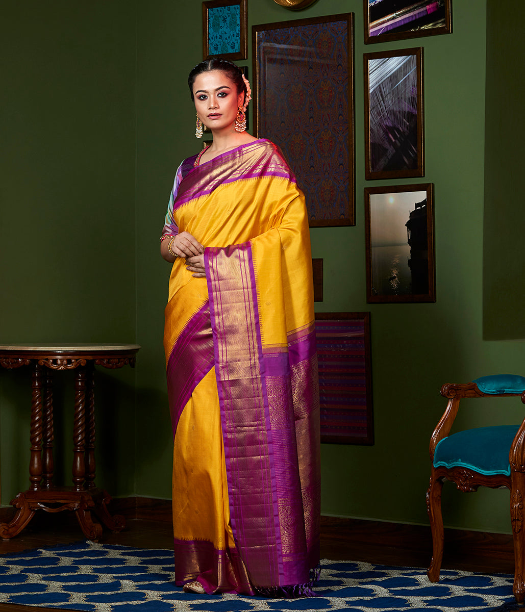 Handwoven Yellow and Purple Kanjivaram Silk Saree with Pure Zari