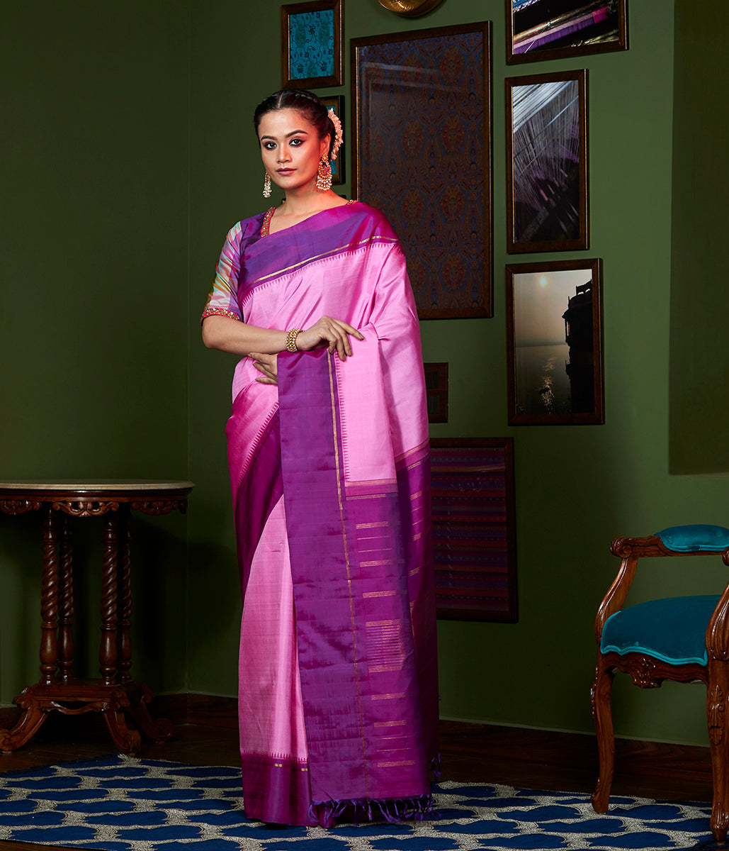 Handwoven Pink Kanjivaram Silk Saree with Purple Border