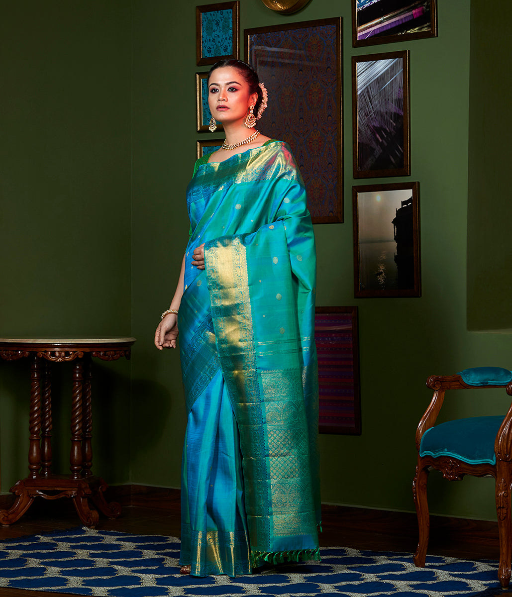 Handwoven Blue and Green Kanjivaram Silk Saree with Pure Zari