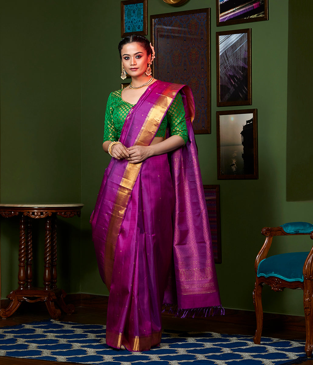 Handwoven Purple Kanjivaram silk saree with Pure Zari