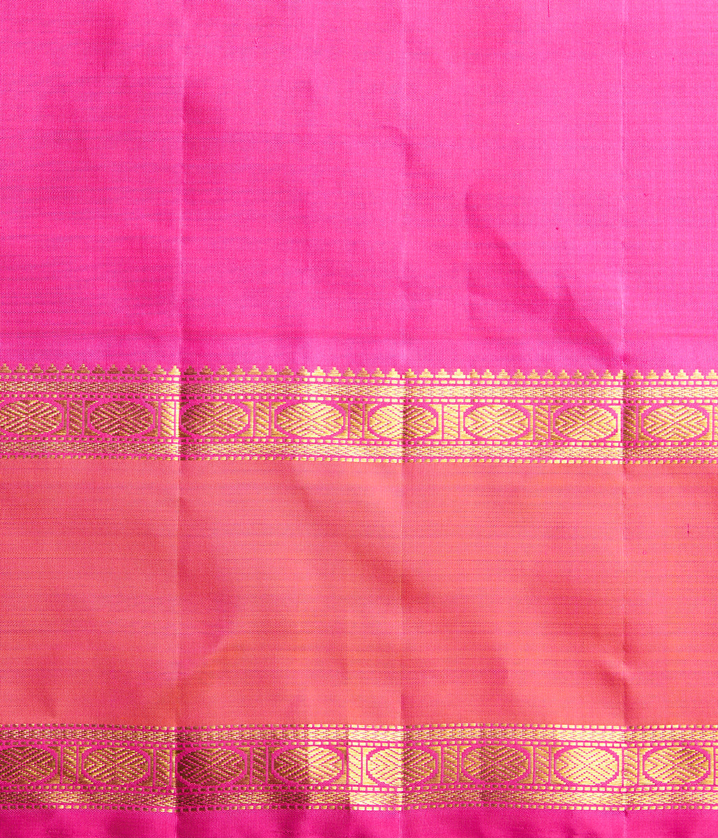 Handwoven black and white checks kanjivaram silk saree with a pink border