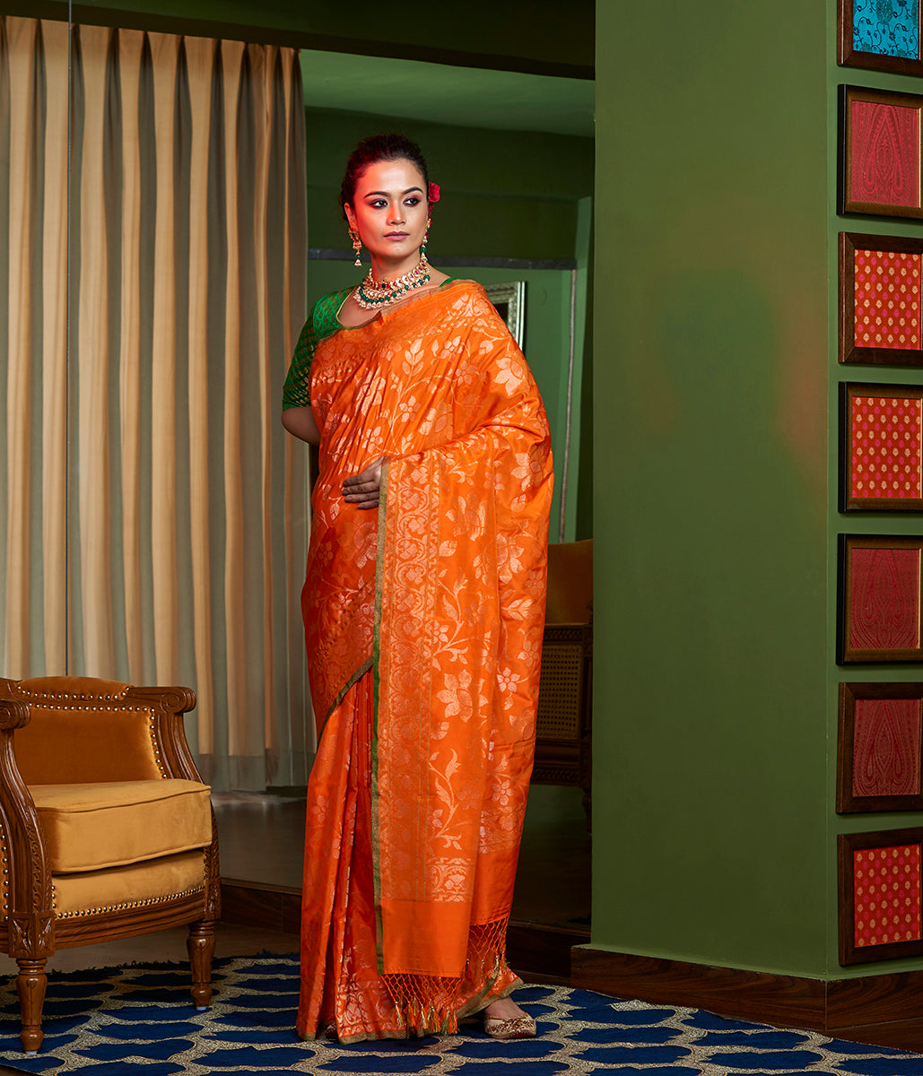 Handwoven Bridal Banarasi Jangla in Orange Woven with Real Zari