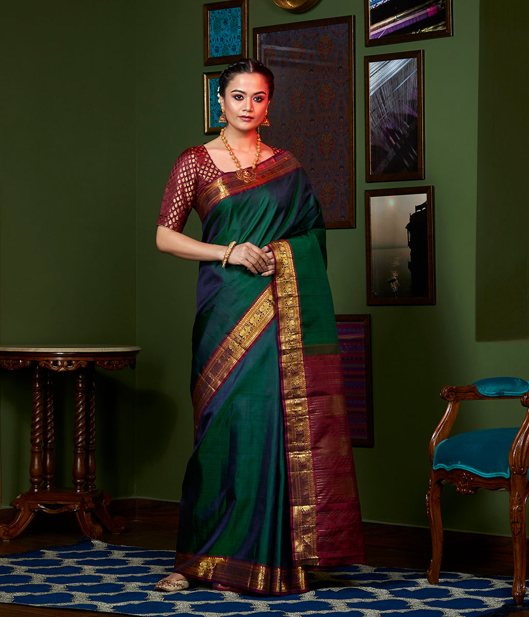 Handwoven Green and Wine Kanjivaram Silk Saree with Gold Zari Border