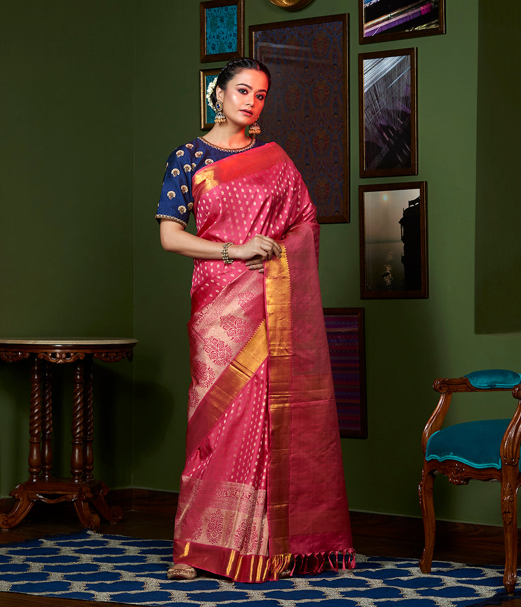 Handwoven pink Kanjivaram silk saree with pure zari