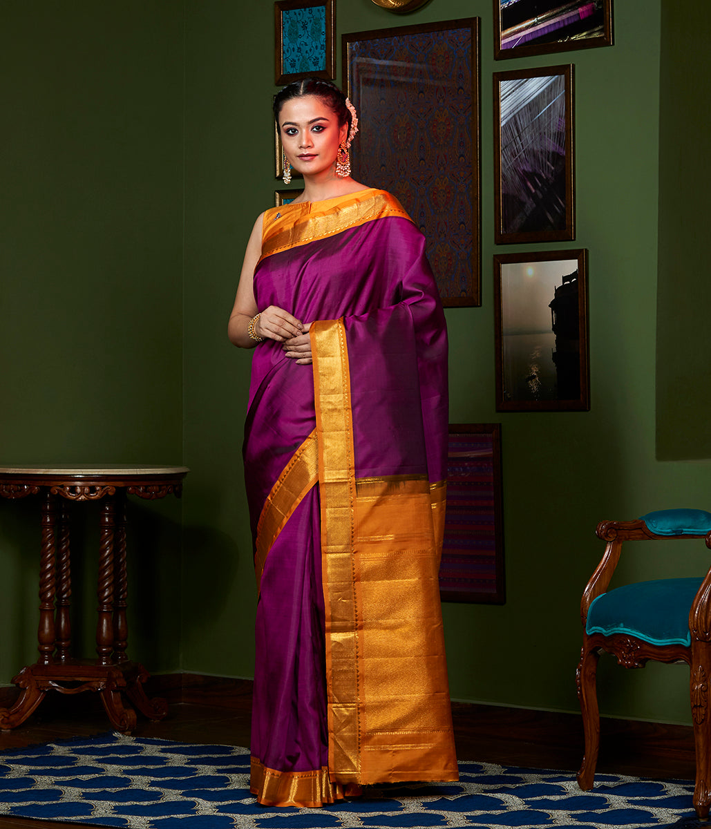 Handwoven Purple and Orange Kanjivaram Silk Saree with Gold Zari Border