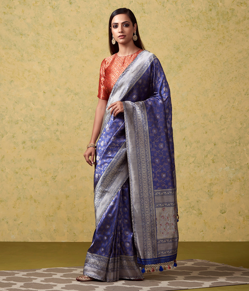 Blue Kimkhab With Kadhwa Border And Meenakari Pallu