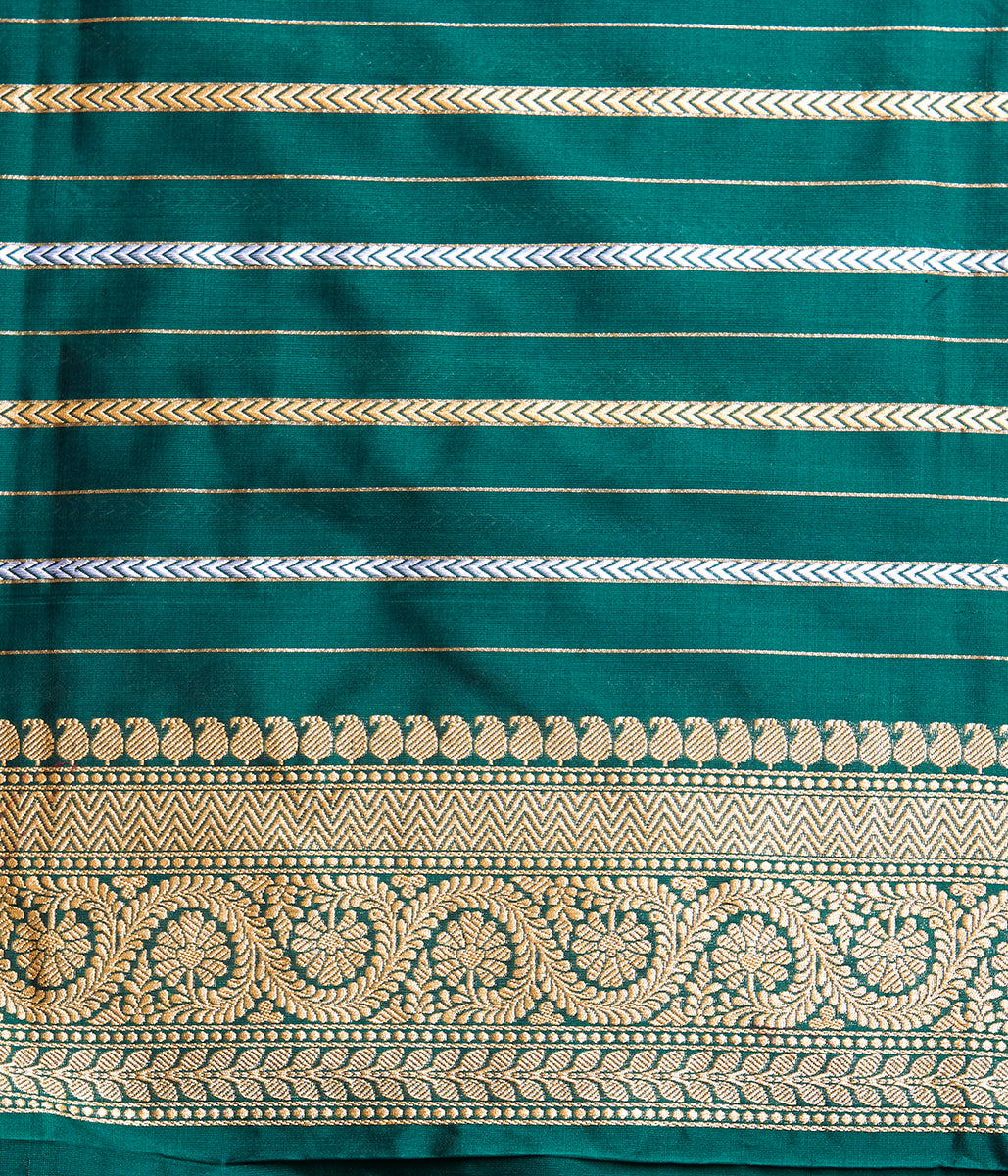 Handwoven Bottle Green Kadhwa Booti Saree with Floral Border
