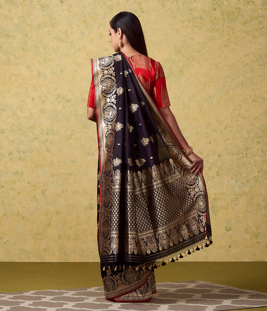 Black Kadhwa Booti Banarasi Saree with Open Floral Border