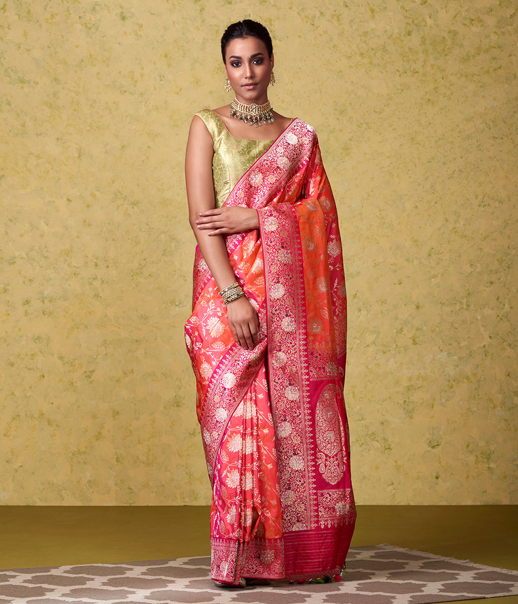 Handwoven Pink and Orange Banarasi Jangla with Bright Pink Border and Pallu