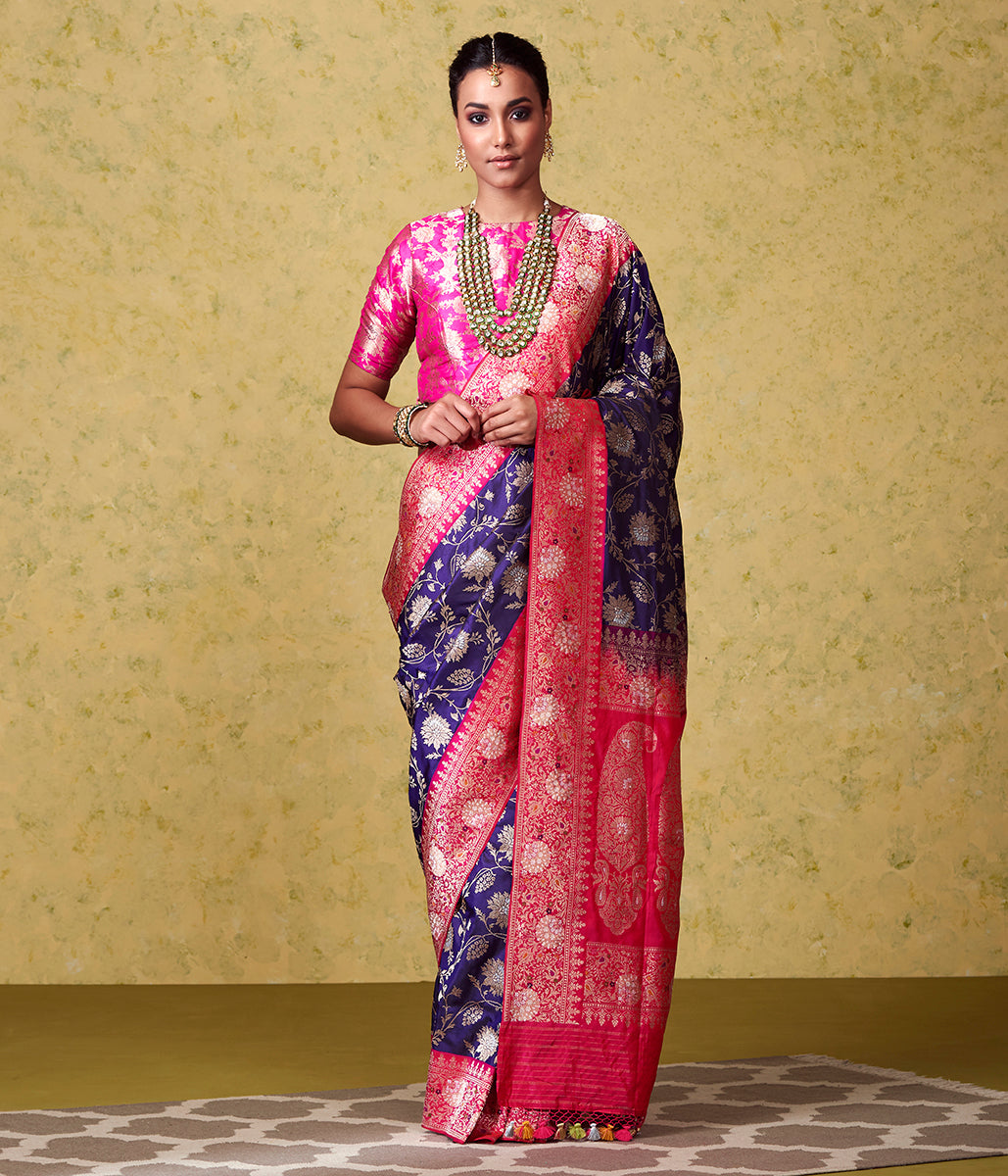 Handwoven Royal Blue Banarasi Jangla with Bright Pink Border and Pallu