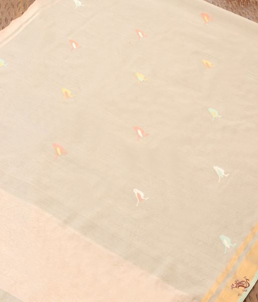 Grey Meenakari Small Bird Motif Dupatta