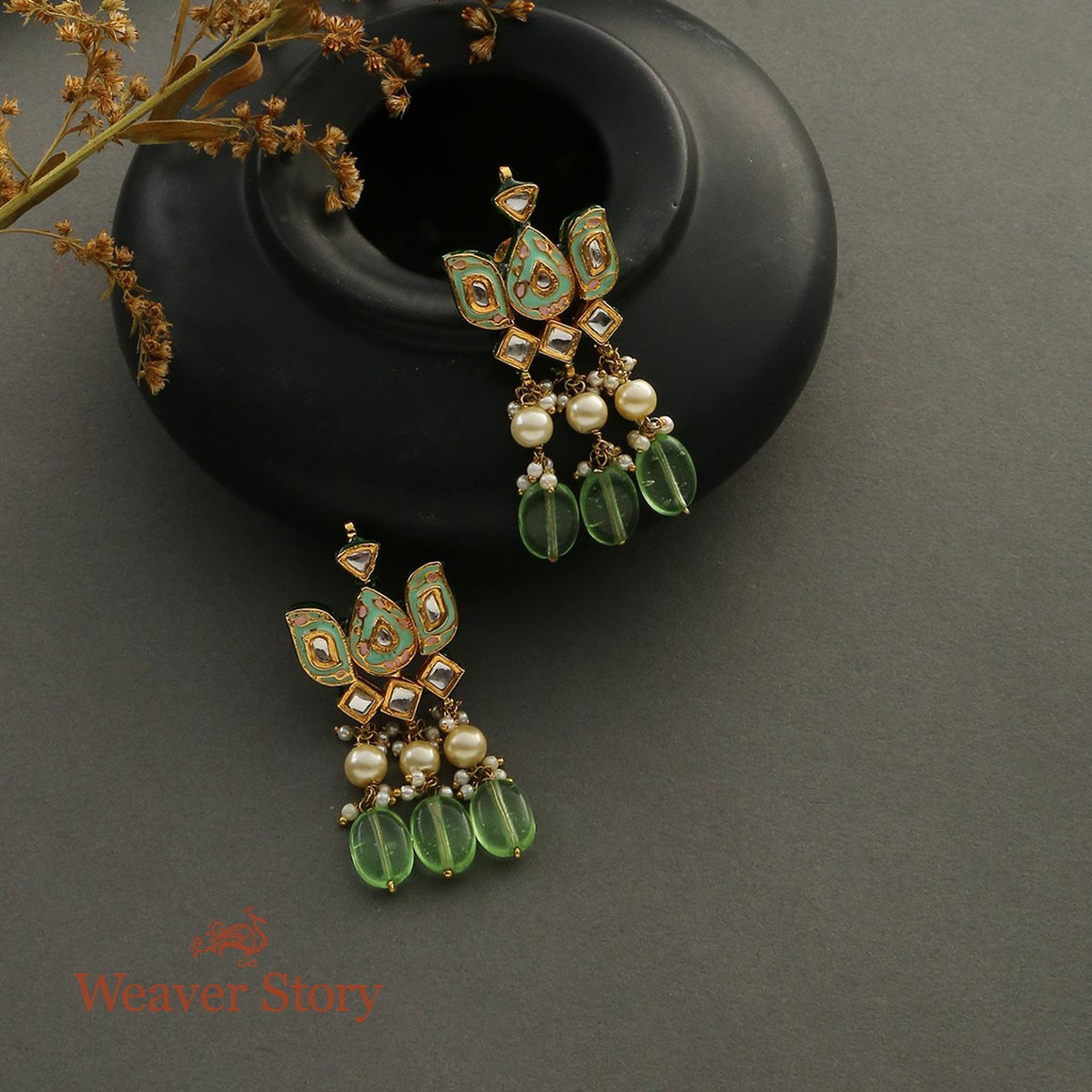 Lotus Shaped Studds with Enamelling