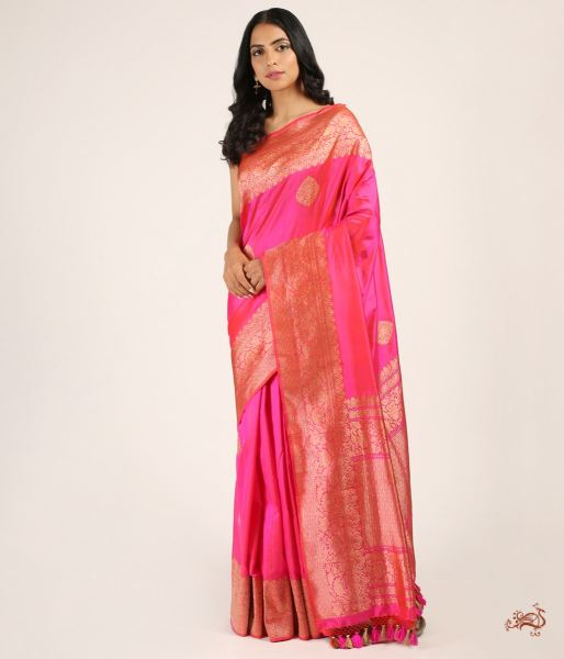 Hot Pink Kadhwa Booti Saree With A Heavy Blouse Saree