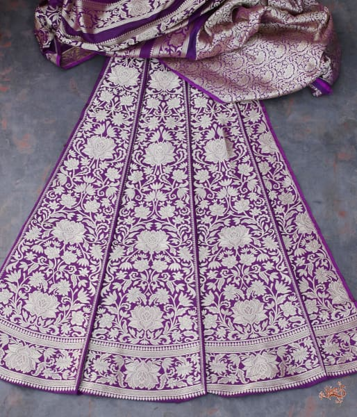 Handwoven Banarasi Lehenga In Deep Purple