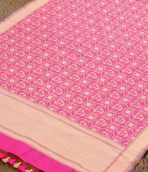 Pink Katan Silk Dupatta With Fish Motifs Dupatta