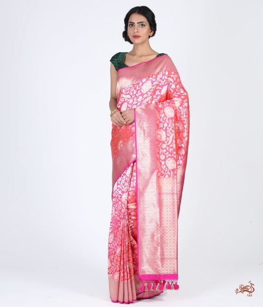 Pink Kimkhab Jangla With Contrast Border Saree