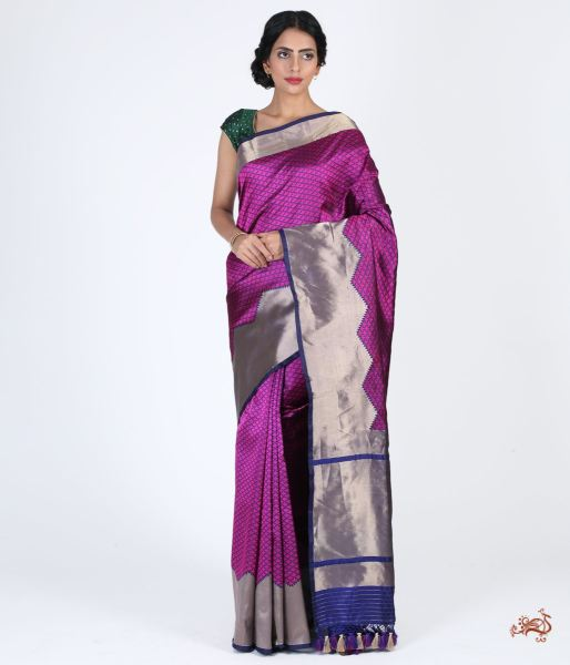 Green Floral Booti Saree In Satin With Rudraksh And Annapakshi Border Saree