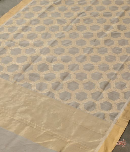 Grey And Gold Jangla Dupatta Woven In Chanderi Dupatta