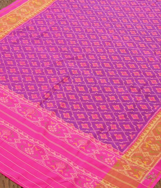Purple With Mustard And Pink Border Single Ikat Rajkot Patola Dupatta Dupatta