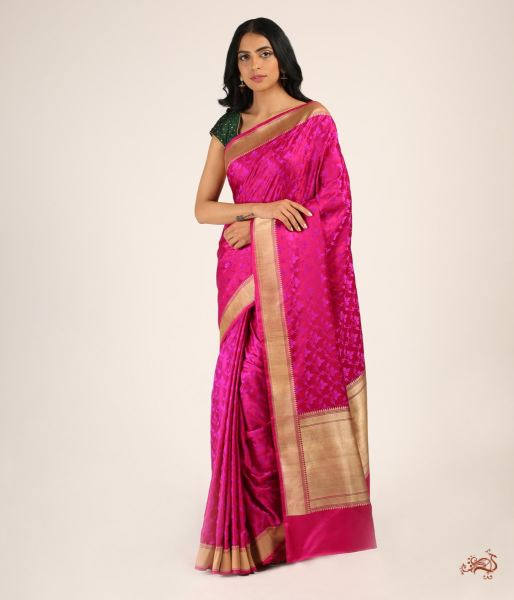 Handwoven Jamawar Tanchoi With A Gold Zari Border Saree