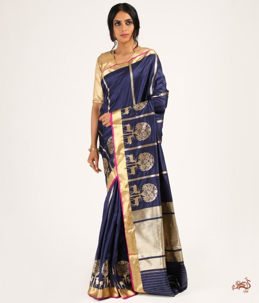 Navy Blue Handwoven Katan Silk Saree With Kadhwa Motifs Saree
