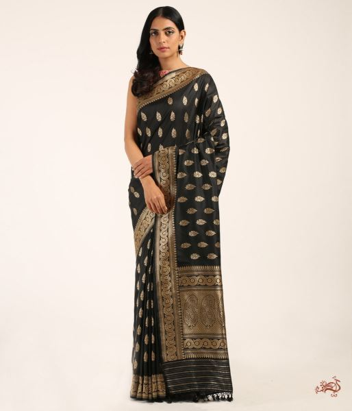 Black Pure Katan Silk Saree With Traditional Motifs Saree