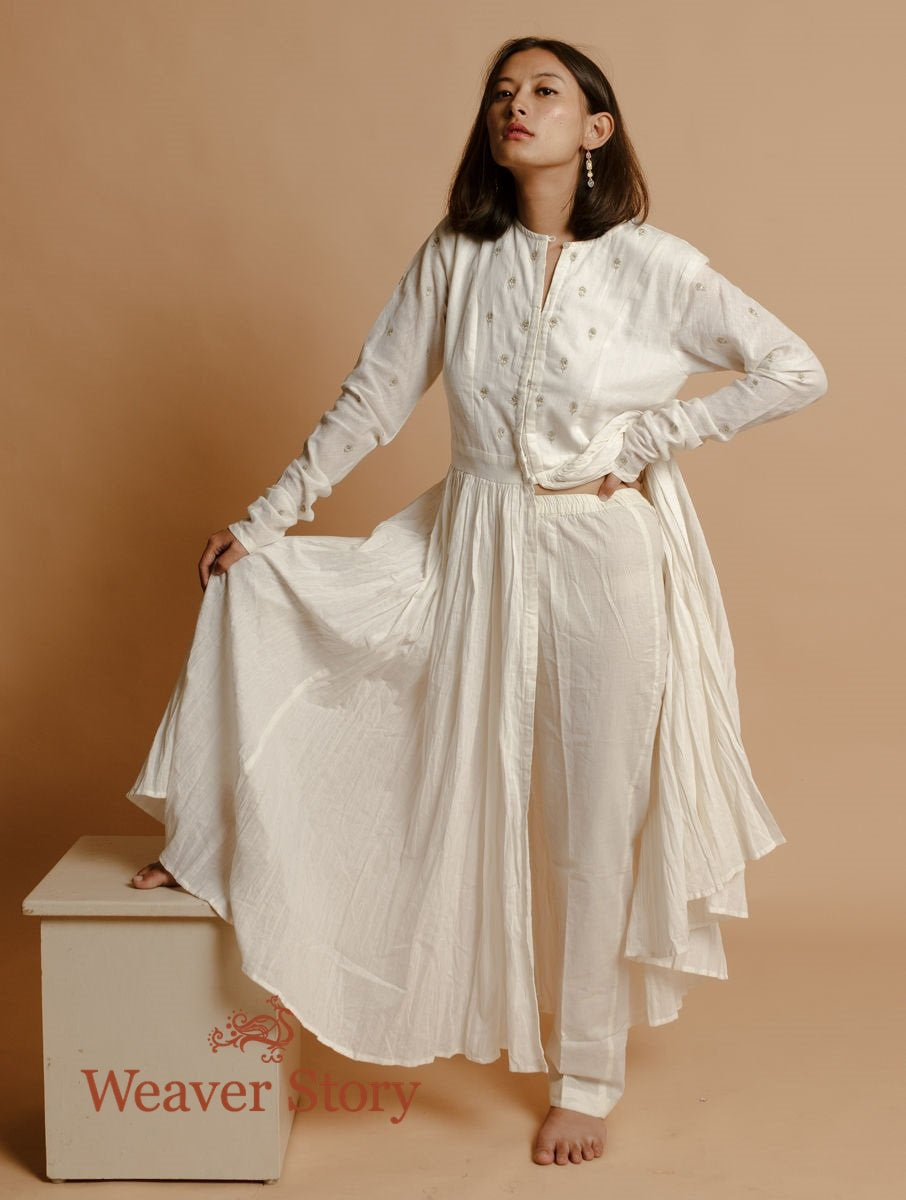 Ivory Handloom Cotton Jacket with Hand Embroidery and Trousers