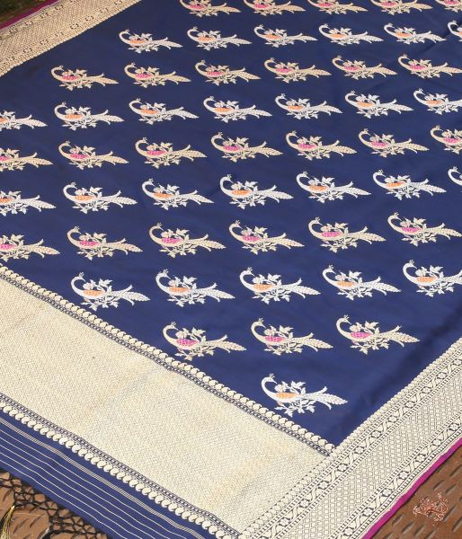 Handwoven Katan Silk Dupatta With Peacock Motifs