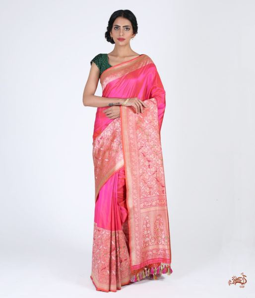 Hot Pink Plain Katan Saree With Kadhwa Meenakari Shikargah Border And Pallu Saree