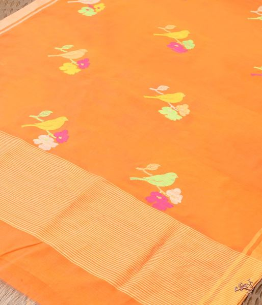 Orange Big Bird Motif Dupatta Dupatta