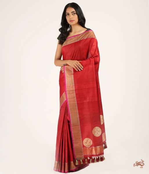 Handwoven Tusser Banarasi Saree In Red Saree