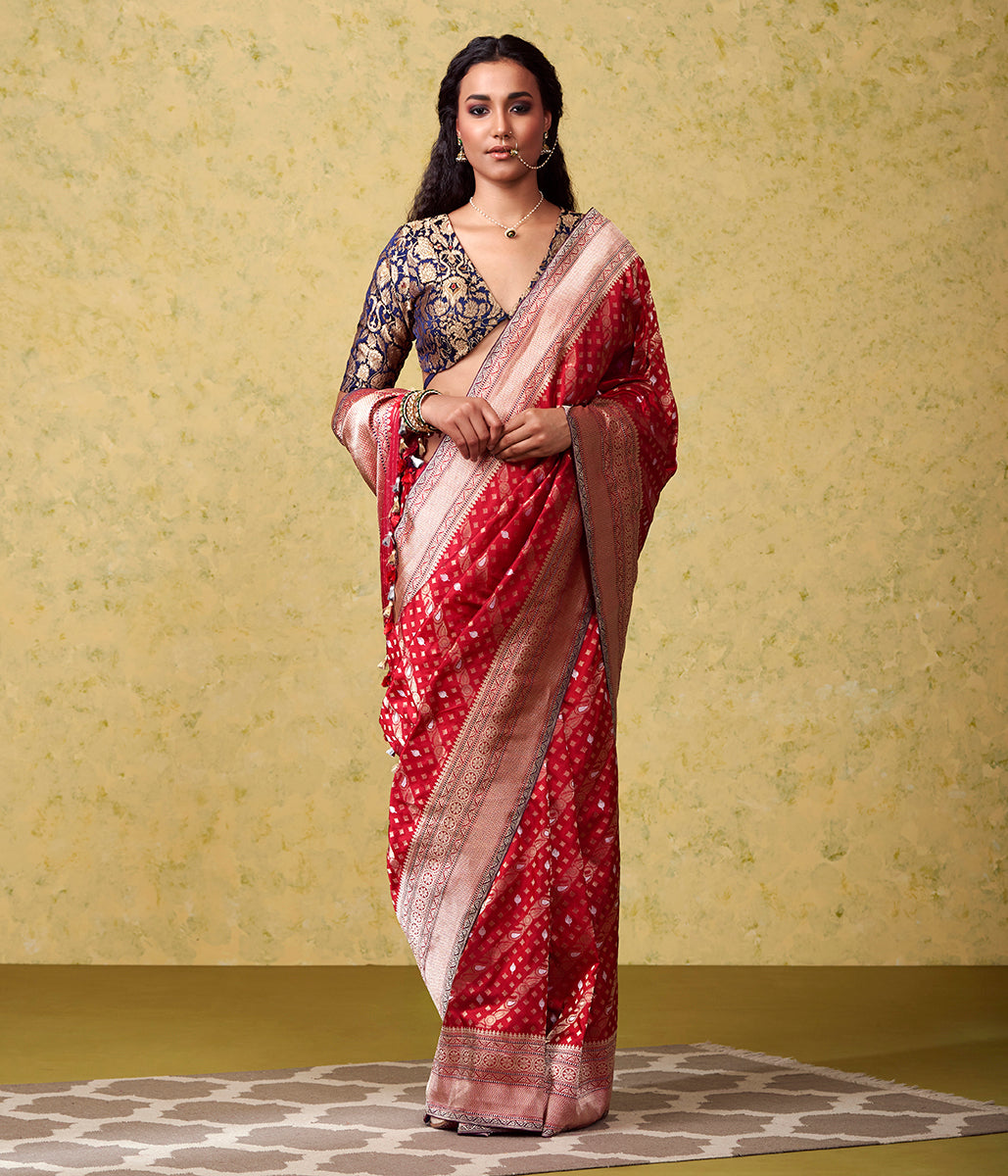 Handwoven Red Nilambari Saree with Kadhwa Border and Pallu