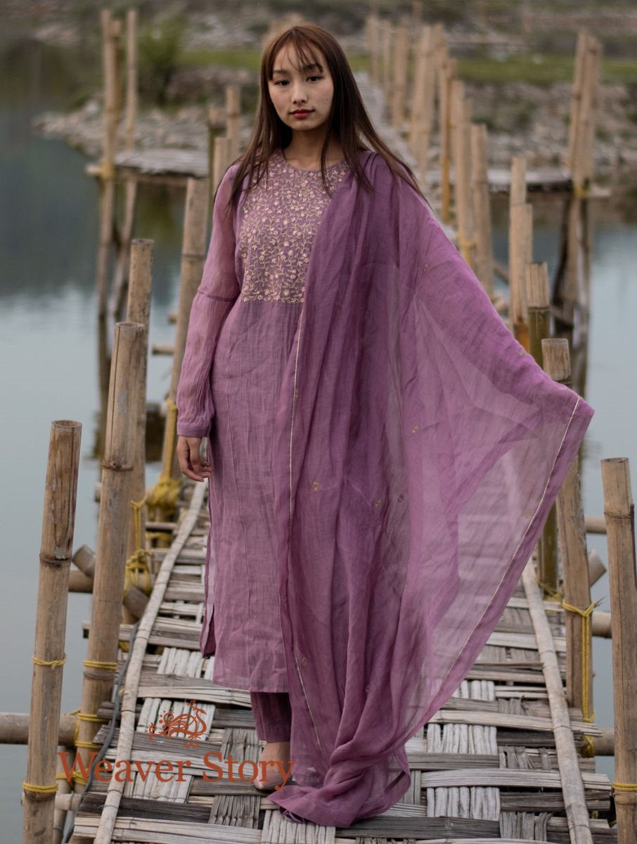 Mauve Handwoven Mul Chanderi Kurta with Hand Embroidery, Cotton Trousers and Dupatta