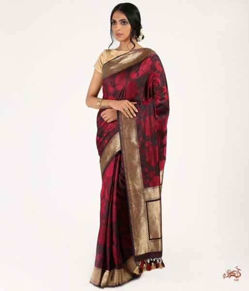 Black And Mahroon Pure Jamawar With Zari Border Saree