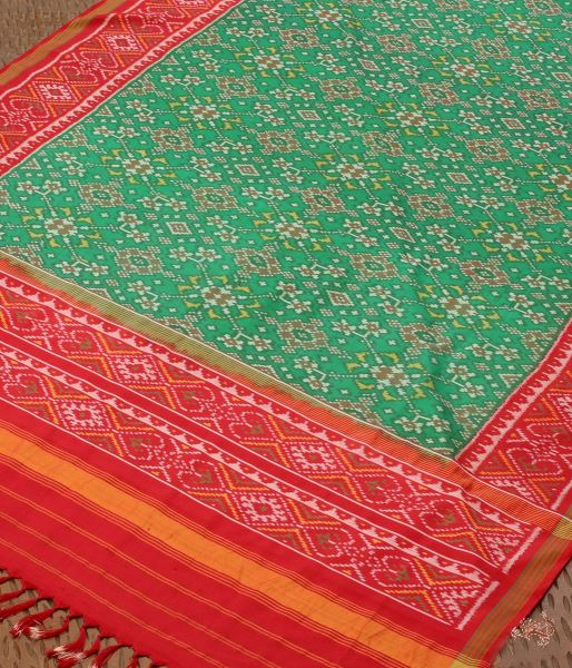Handloom Patola Dupatta In Green And Red