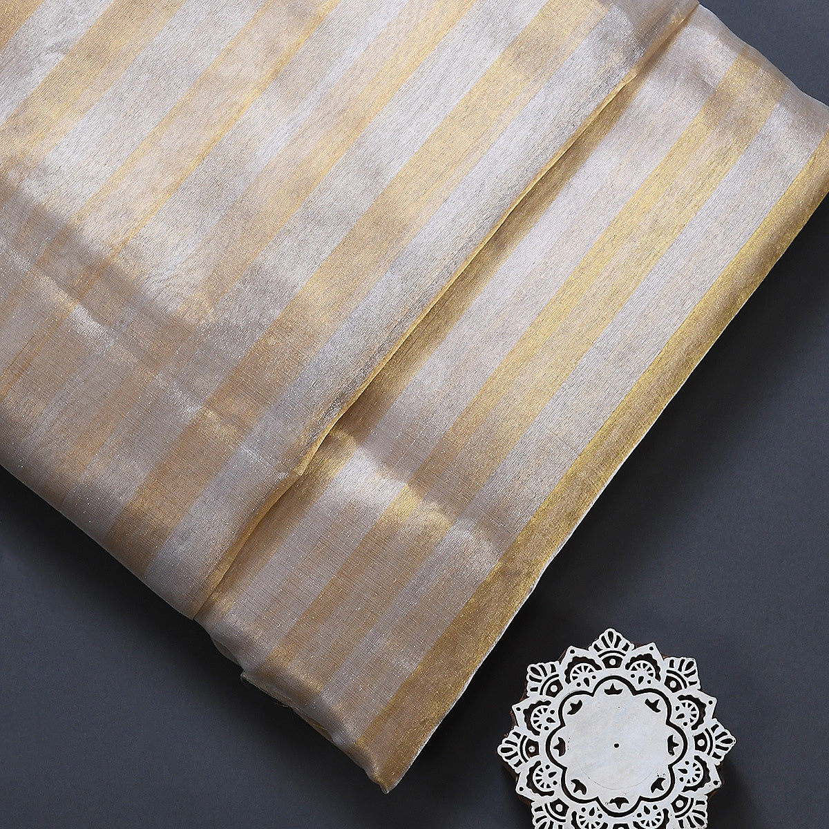 Handwoven Silver and Gold Tissue Fabric Woven in Chanderi