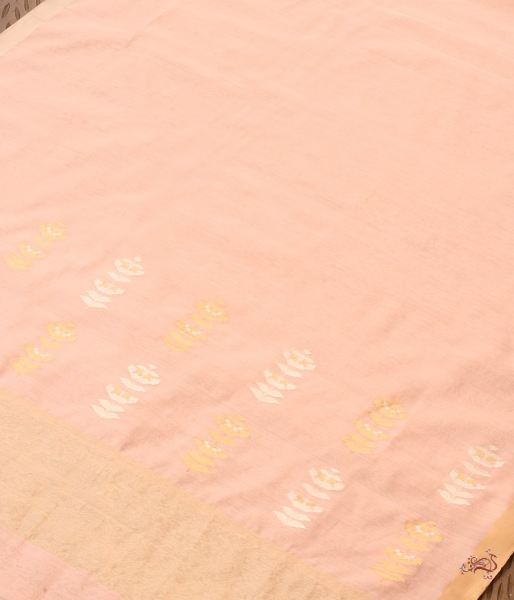 Peach Plain Chanderi Silk Dupatta With Heavy Palla Dupatta