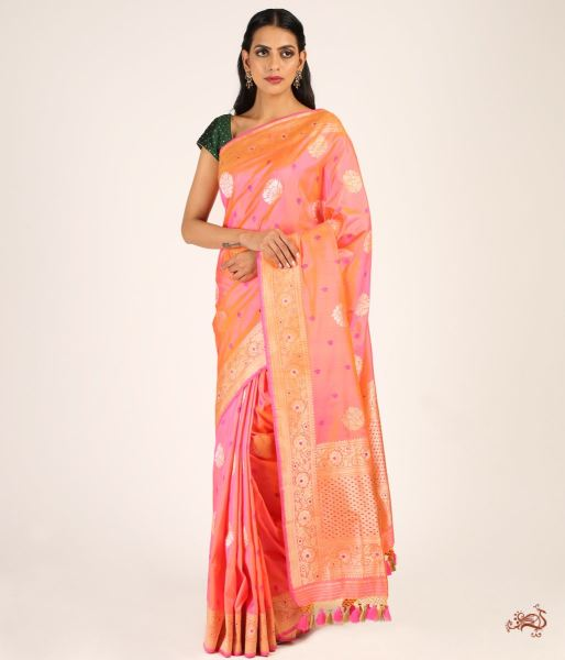 Orange And Pink Dual Tone Kadhwa Booti Saree With Meenakari Border Saree