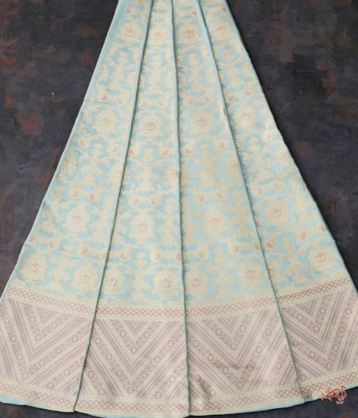 Handwoven Banarasi Lehenga In Duck Egg Blue Color With Meenakari