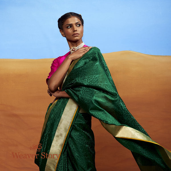 Handwoven Green Tanchoi Saree with Birds