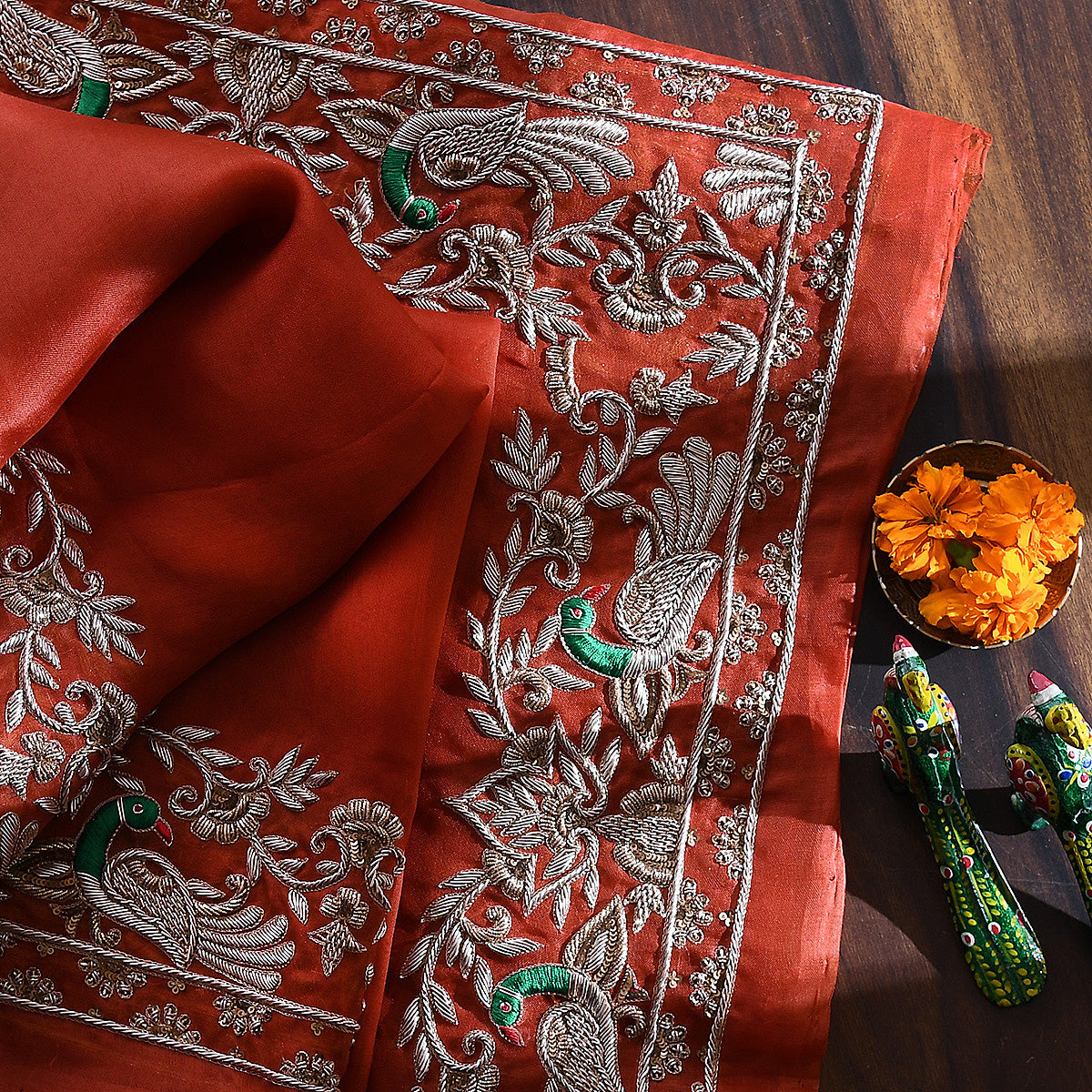 Handwoven Rust Organza Peacock Bel Dupatta with Zardozi Work