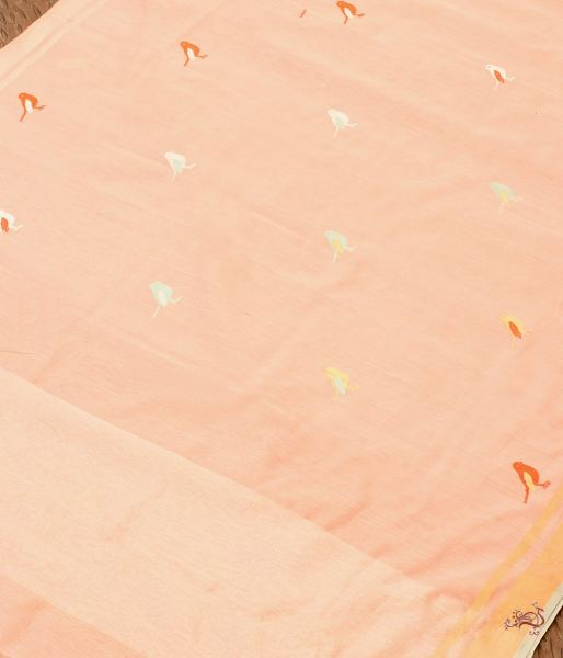 Peach Meenakari Small Bird Motif Dupatta