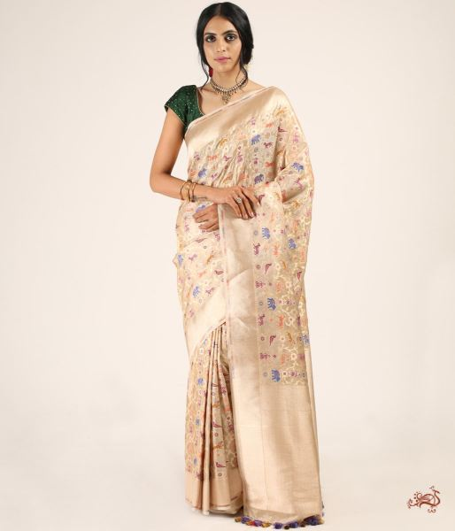 Handwoven Shikargah Saree In Silk With Tissue Saree