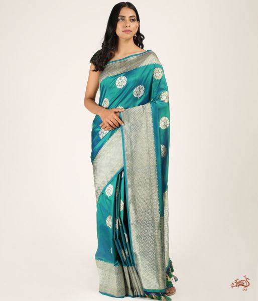 Blue Green Shot Color Sona Rupa Boota Saree In Pure Katan Silk Saree
