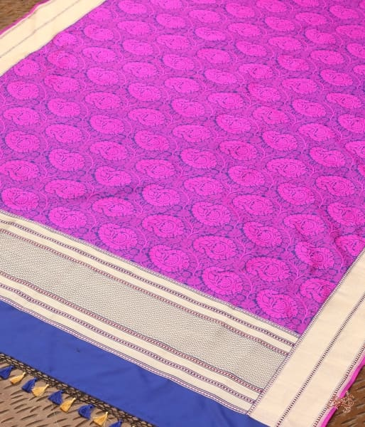 Purple And Blue Dual Tone Tanchoi Dupatta