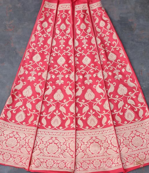 Handwoven Banarasi Lehenga In Coral Red